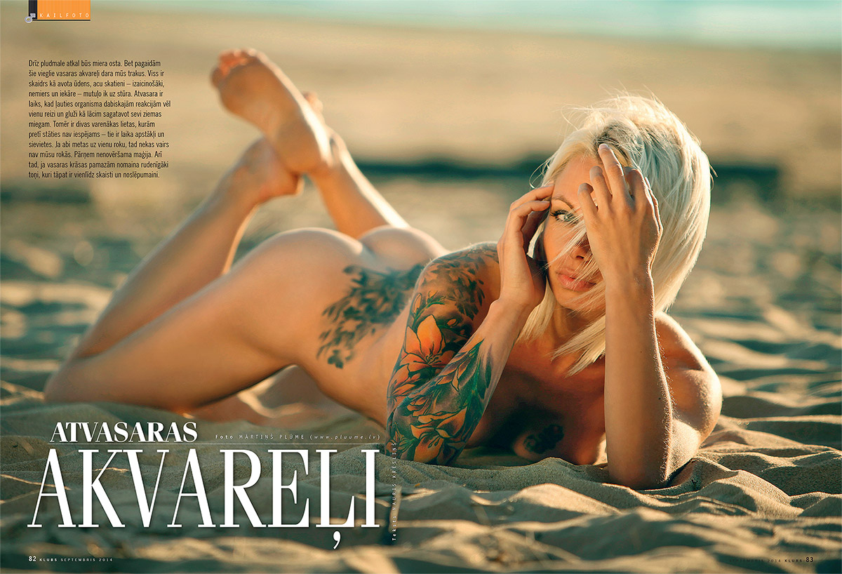 Inga, kailfoto, zurnals Klubs, erotiska fotosesija, fotografs Martins Plume, nude art