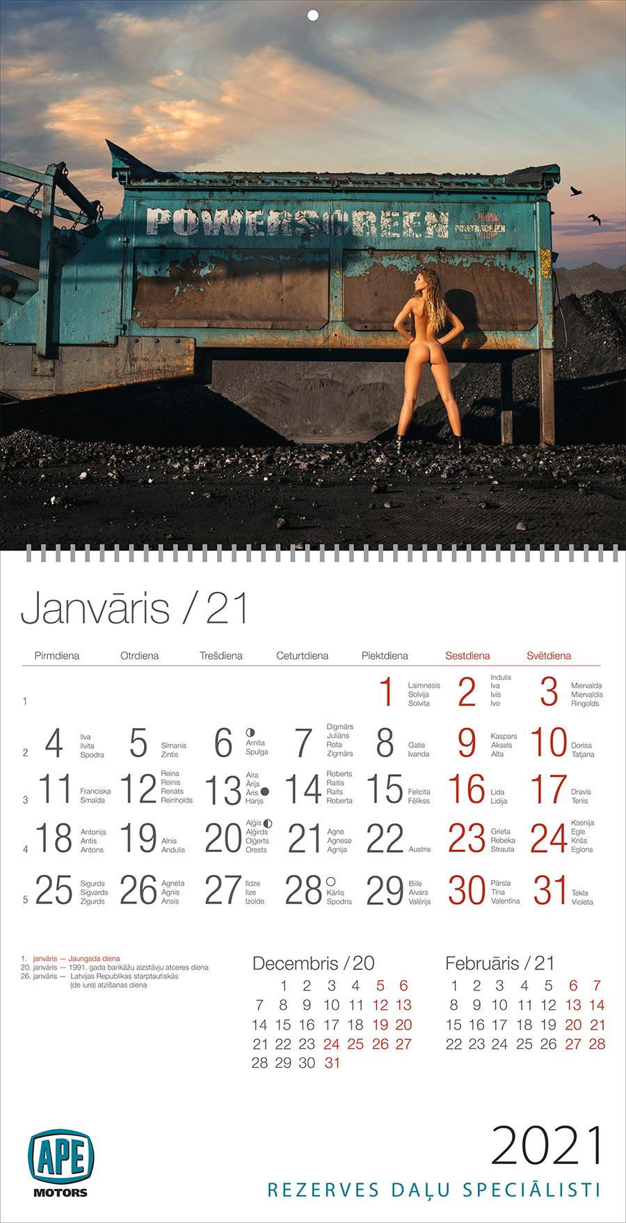 Erotiskas kalendārs 2021 gadam sadarbībā ar APE Motors